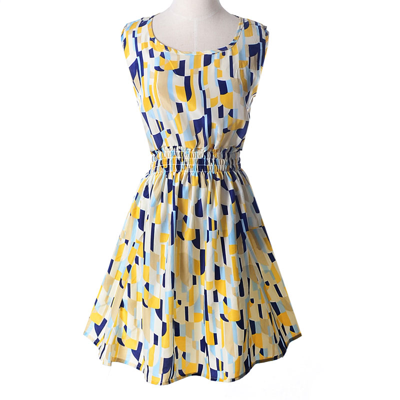 Lady-039-s-Sleeveless-O-neck-Flower-Printed-Casual-Mini-Dress-Sunflower-Asian-M-N1A7 thumbnail 38