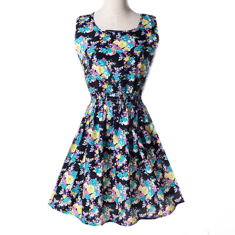 Lady-039-s-Sleeveless-O-neck-Flower-Printed-Casual-Mini-Dress-Sunflower-Asian-M-N1A7 thumbnail 62