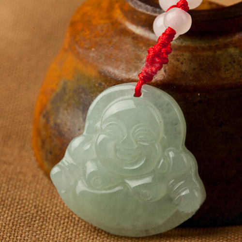 Red String Green Faux Jade Buddha Pendant Jewelry Necklace A8E1