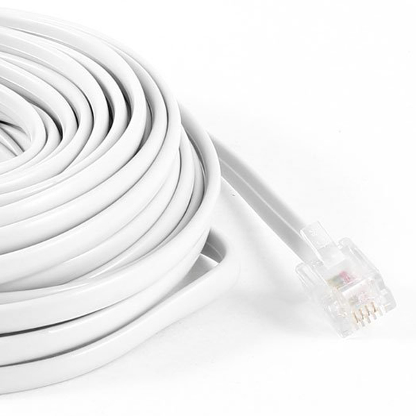 white rj11 6p4c modular telephone extension lead cable 9m 30ft b2t5 RJ11 Phone Jack Wiring unbranded