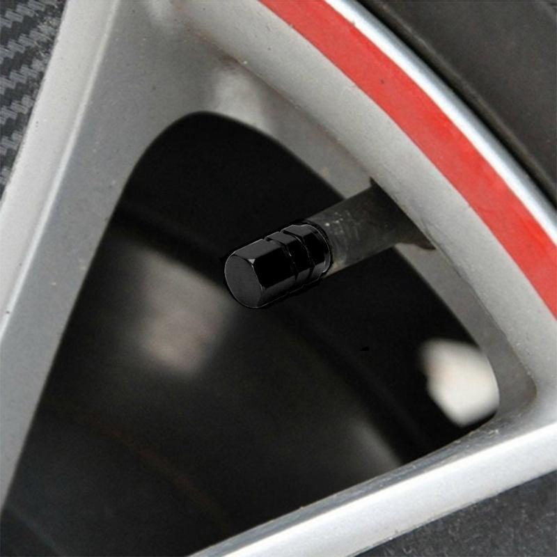 I5D8 Packung mit 4 Schwarz Reifen Luftventilkappen Fit Alle Schrader-Ventil