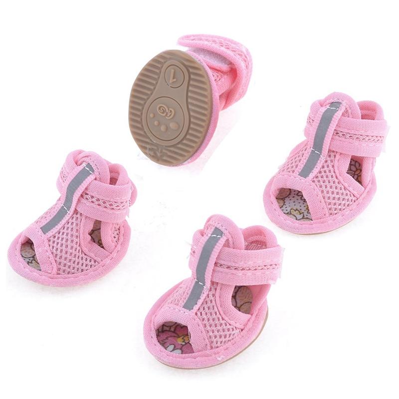 2-Pares-De-Zapatos-Para-Perros-De-Goma-De-La-Suela-De-Color-Rosa-Con-Malla-Sa-ST
