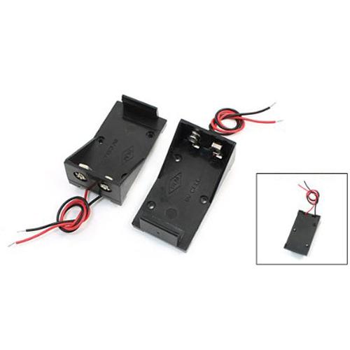 3-Pcs-Negro-5-5-034-Alambre-9-V-Voltio-Baterias-Sostenedor-Caso-Caja-Base-E3T2