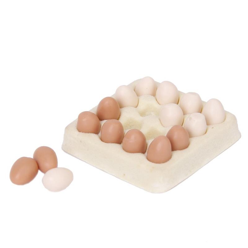 Huevo en miniatura de casa munecas 1//12 carton con 16pzs huevos Y6V3 6Y2