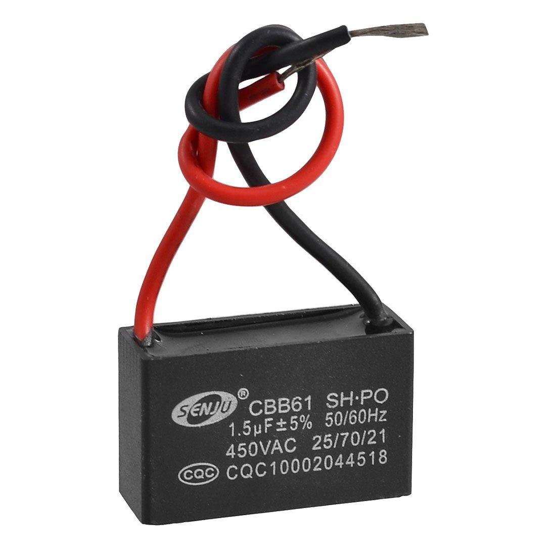 10X(CBB61 AC 450V 1.5uF 2-wire Terminal Ceiling Fan Motor Run ...