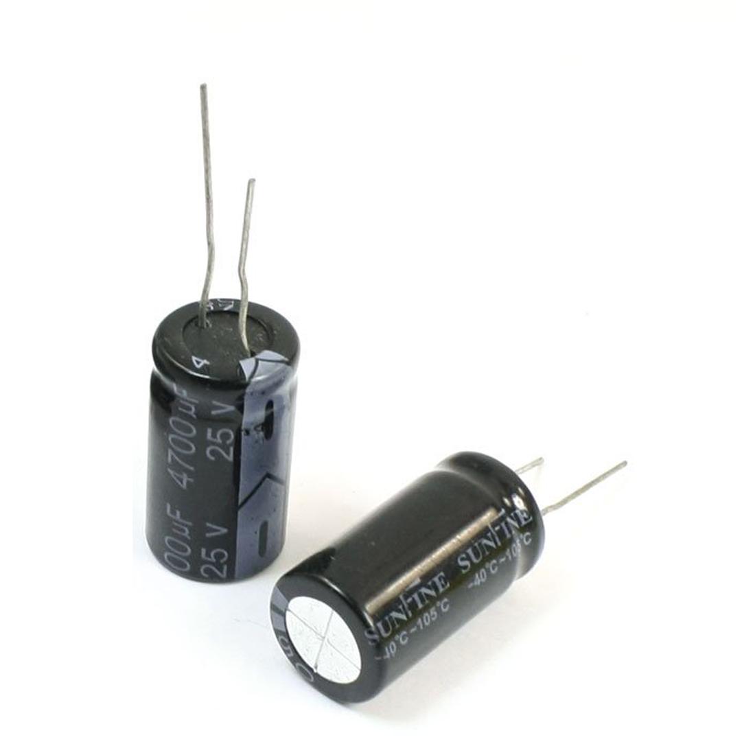 6 Stueck 4700uF / 25V Radial Leitungsdraht Aluminium-Elektrolyt ...