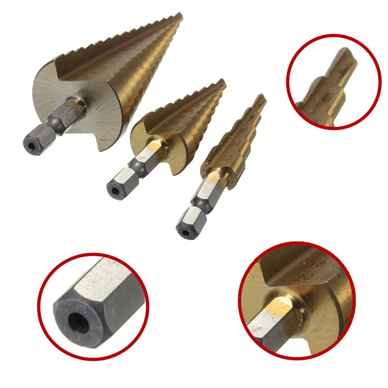 HSS-Foret-Fraises-a-etages-Conique-Titane-pour-Perceuse-Visseuse-4-12mm-V7E7 miniature 7