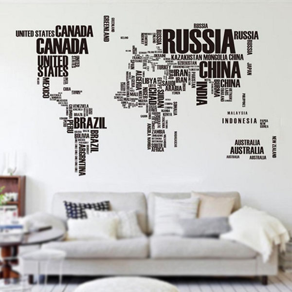 Black letters world map removable vinyl decal art mural wall black letters world map removable vinyl decal art publicscrutiny Image collections