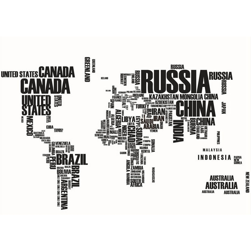 Black letters world map removable vinyl decal art mural wall image is loading black letters world map removable vinyl decal art gumiabroncs Image collections