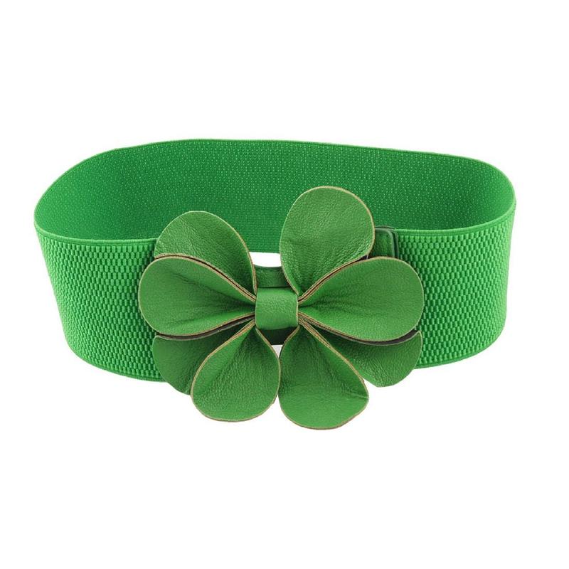 chiaro e distintivo genuino dove comprare 2X(Cintura Elastica Elettrica Cinch Cintura Verde Faux Fiore 7,5 cm per Don  I1Y8