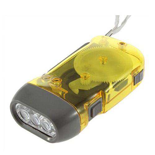 Luz de antorcha Linterna de enrollado dinamo de 3 LED Manivela manual NR Ca F4U5
