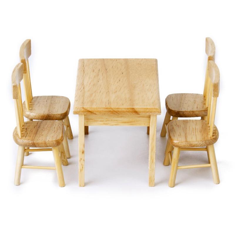 5 stueck esstisch stuhl modell set puppenhaus miniatur moebel aus holz 1 12 j4p5 ebay. Black Bedroom Furniture Sets. Home Design Ideas