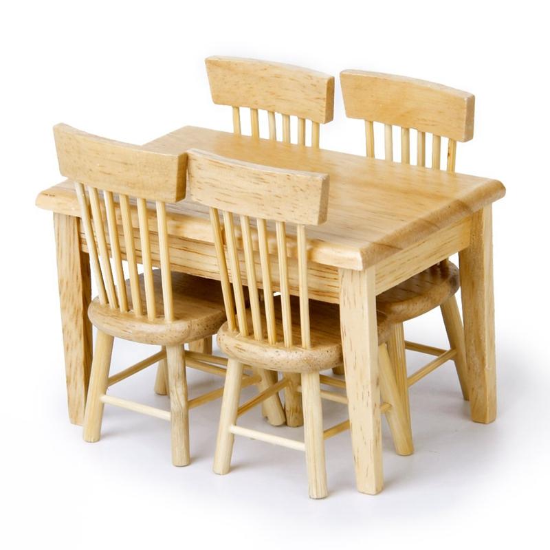 5 stueck esstisch stuhl modell set puppenhaus miniatur for Stuhle esstisch holz