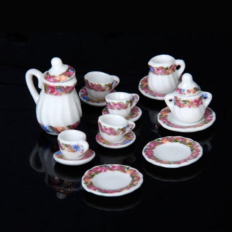 2X-15pcs-Doll-House-Miniature-Porcelain-Tea-Set-Dish-Cup-Plate-Colorful-N3E3 thumbnail 2