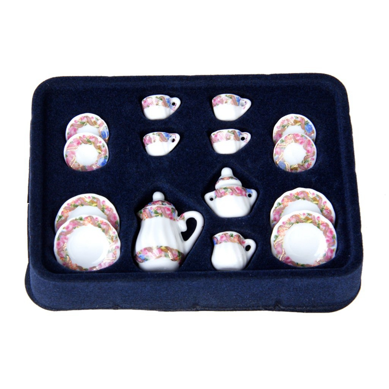 2X-15pcs-Doll-House-Miniature-Porcelain-Tea-Set-Dish-Cup-Plate-Colorful-N3E3 thumbnail 3