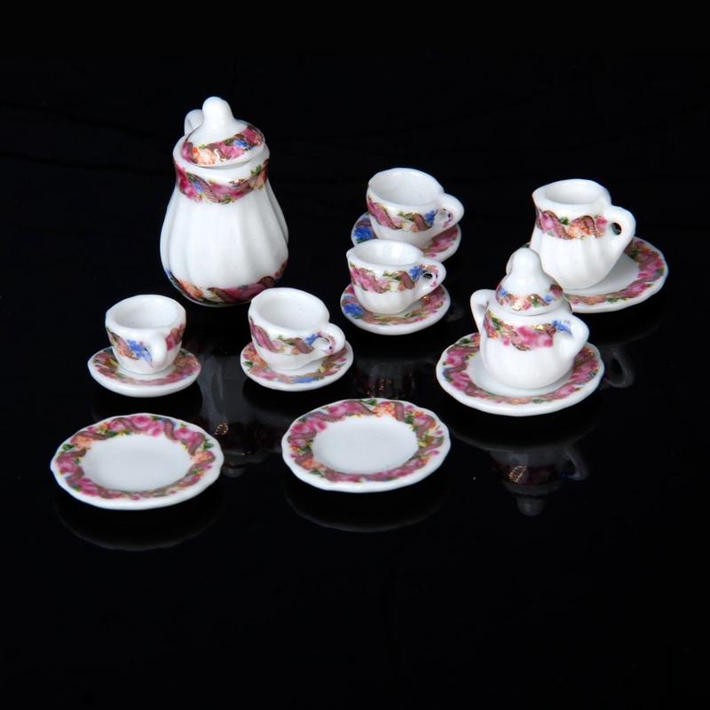 2X-15pcs-Doll-House-Miniature-Porcelain-Tea-Set-Dish-Cup-Plate-Colorful-N3E3 thumbnail 4