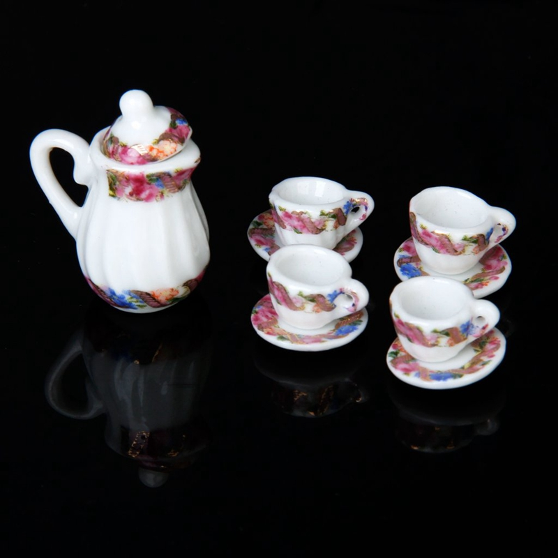 2X-15pcs-Doll-House-Miniature-Porcelain-Tea-Set-Dish-Cup-Plate-Colorful-N3E3 thumbnail 5