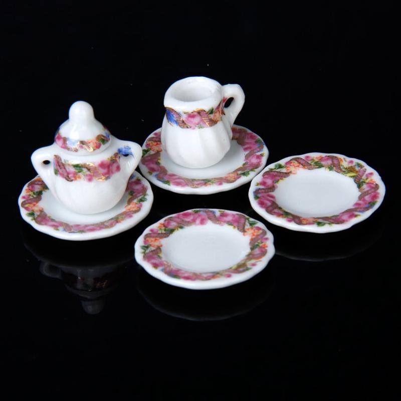 2X-15pcs-Doll-House-Miniature-Porcelain-Tea-Set-Dish-Cup-Plate-Colorful-N3E3 thumbnail 6
