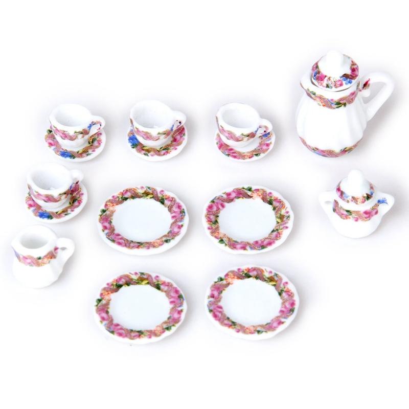 2X-15pcs-Doll-House-Miniature-Porcelain-Tea-Set-Dish-Cup-Plate-Colorful-N3E3