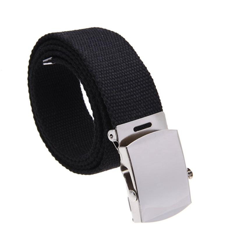 SODIAL(R) Boucle de ceinture unisexe homme femme toile tissu noir E3W8 2aa097e8055