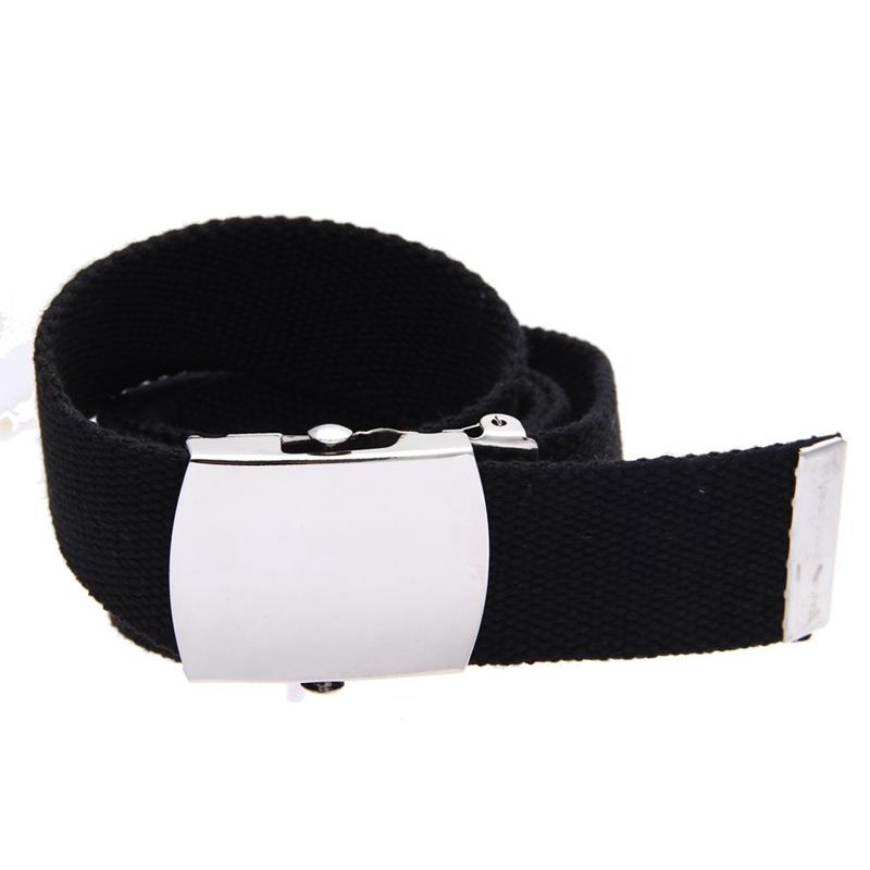 Cintura fibbia uomo donna unisex in tessuto tela nera T2C8