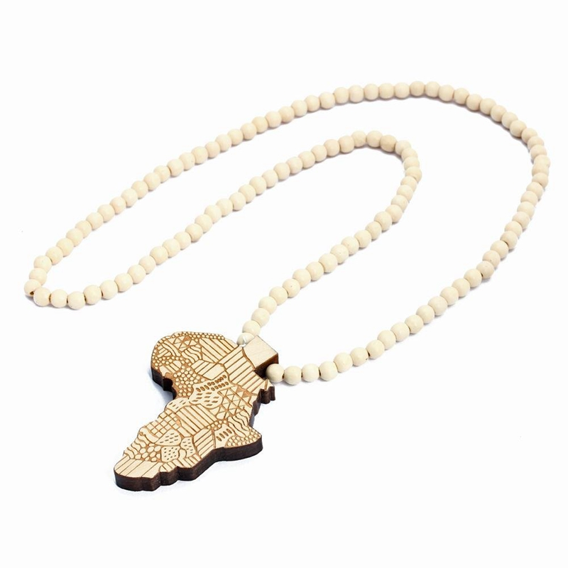 1pcs Good Quality Hip-Hop African Map Pendant Wood Bead Rosary Chain Beige T8M8