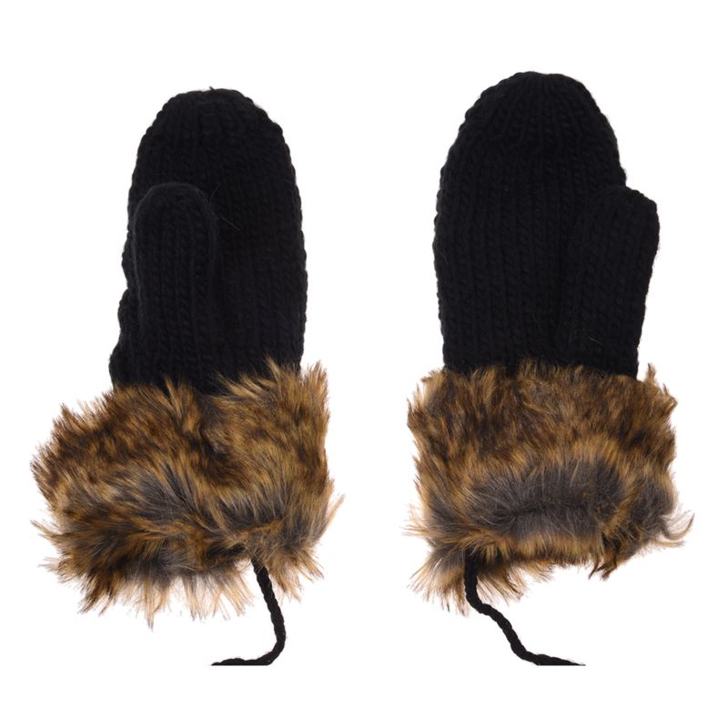 Women-Warm-Ladies-Rag-Wool-Winter-Snow-Mittens-Knitted-Fleece-Lined-Fur-Gloves thumbnail 3