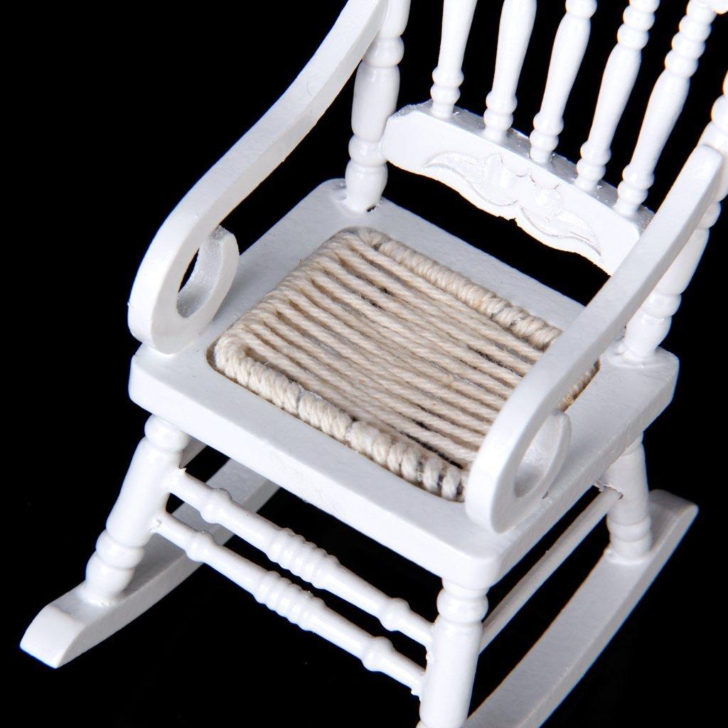 1 12 miniatur puppenhaus aus holz schaukelstuhl modell weiss de. Black Bedroom Furniture Sets. Home Design Ideas