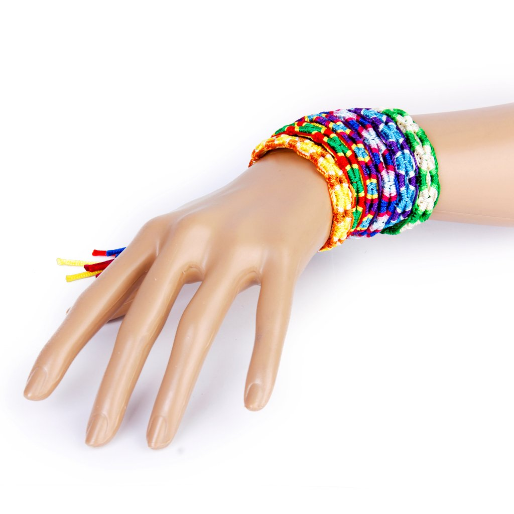 string bracelet right wrist 6 x colorful braided friendship bracelets thread wrist 9367