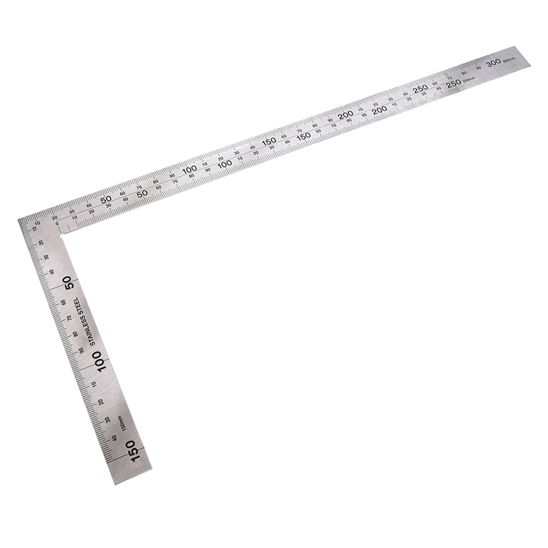 Stainless Steel 15x30cm 90 Degree Angle Metric Try Mitre Square Ruler Scale