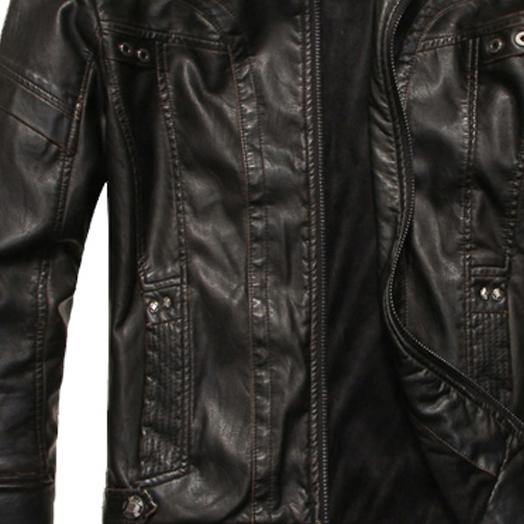 Mode-Hommes-Cuir-cuir-manteaux-de-moto-veste-lave-manteau-de-cuir-Noir-Tai-K9B3 miniature 3