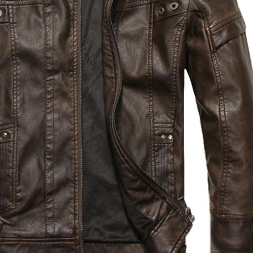 Mode-Hommes-Cuir-cuir-manteaux-de-moto-veste-lave-manteau-de-cuir-Noir-Tai-K9B3 miniature 5