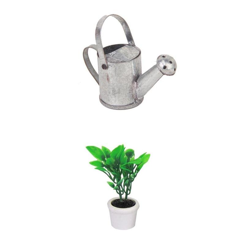 2X-1-12-Dollhouse-Miniature-Garden-Accessory-Green-Plant-in-White-Pot-S5Q7 thumbnail 2