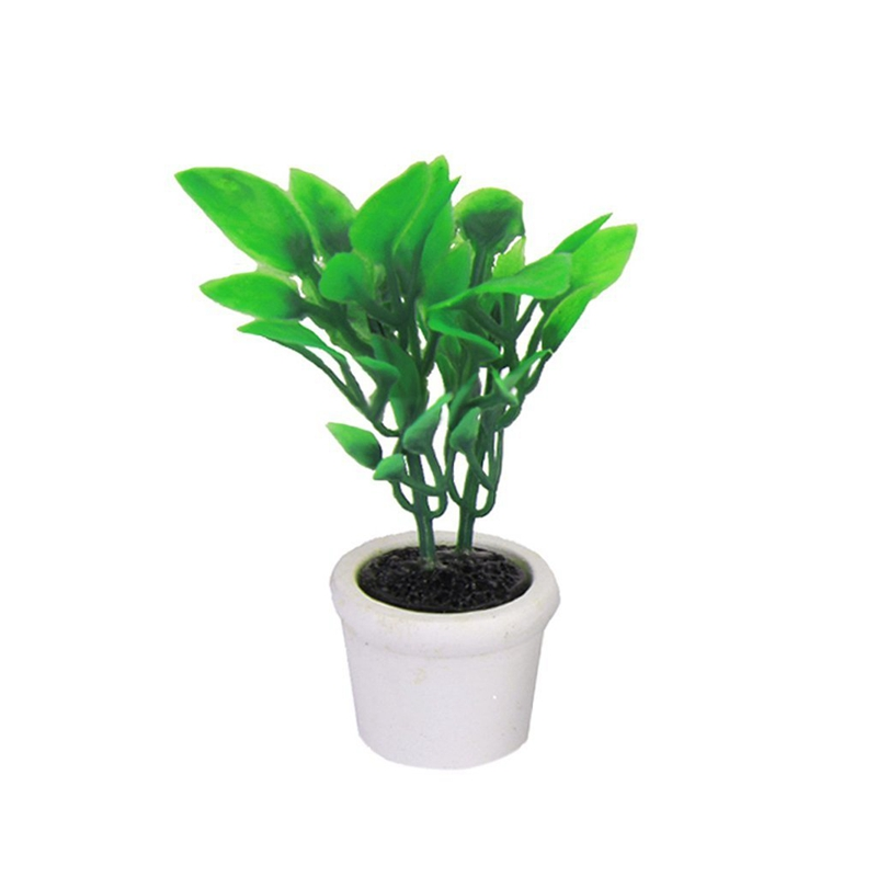 2X-1-12-Dollhouse-Miniature-Garden-Accessory-Green-Plant-in-White-Pot-S5Q7 thumbnail 4