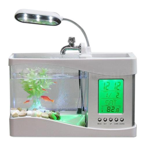 Home aquarium small fish tank usb lcd desktop lamp light for Small fish tanks