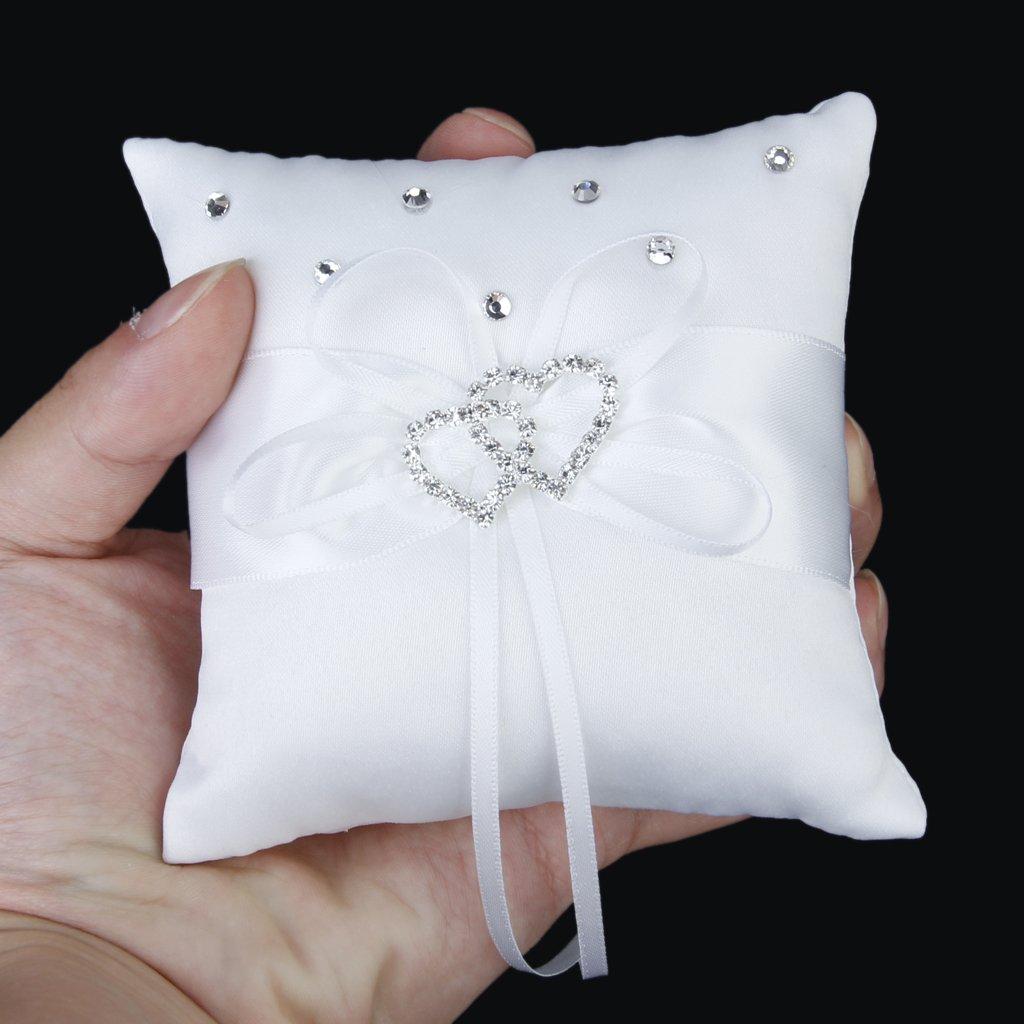 Details Zu Weiss Doppel Herz Kristall Strass Hochzeit Pocket Ring Kissen V5m8 A7l9
