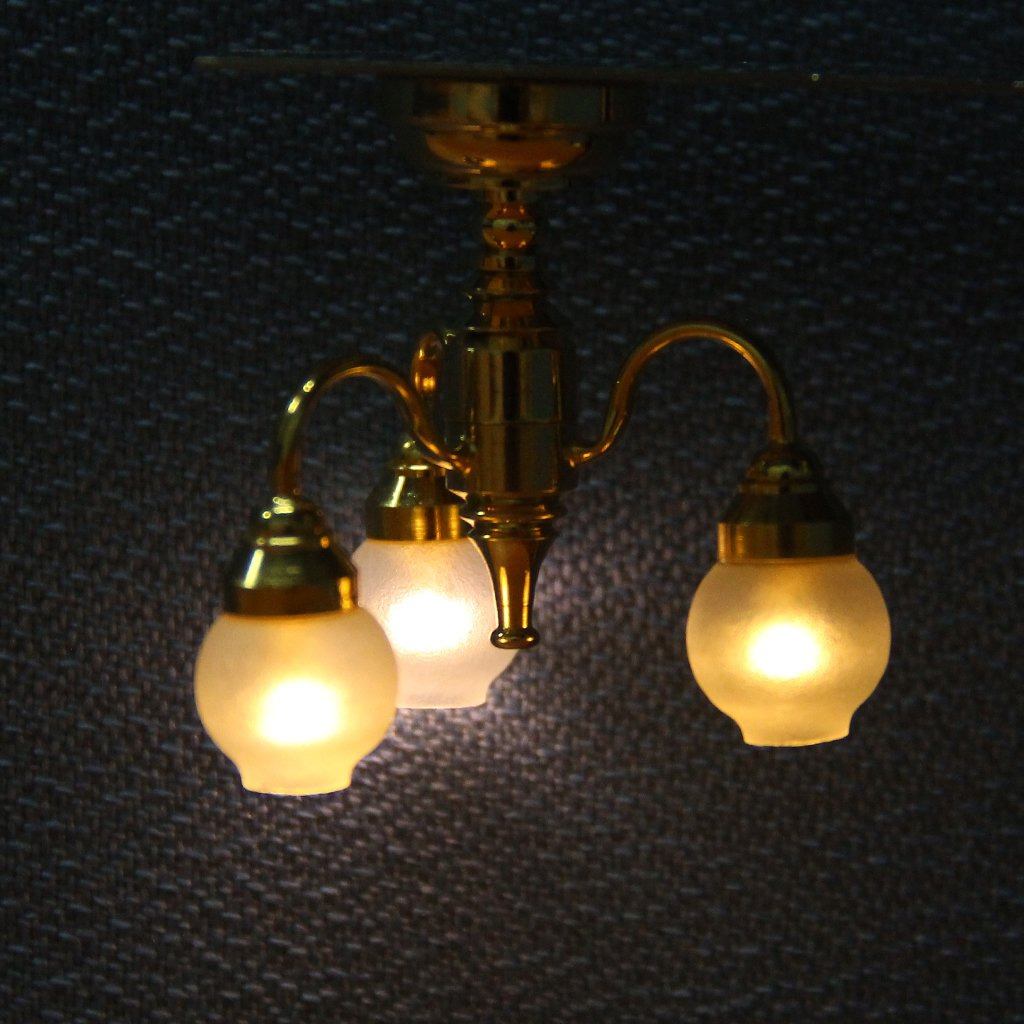1:12 Dollhouse Brass Chandelier 3 Arm Lamp LED Ceiling