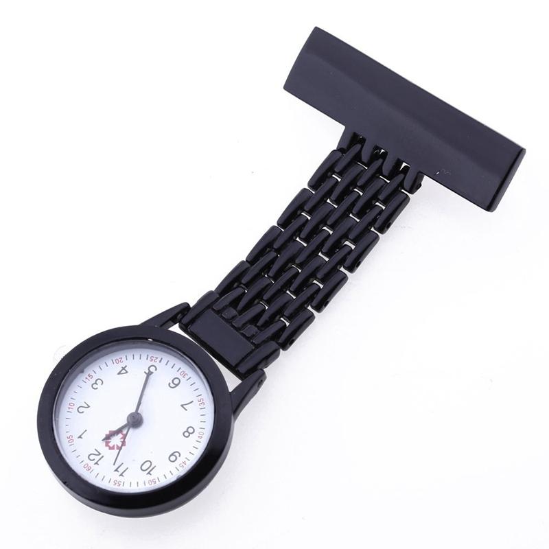 aa5977c5162c La imagen se está cargando Reloj-con-broche-de-enfermera-negro-G4X8
