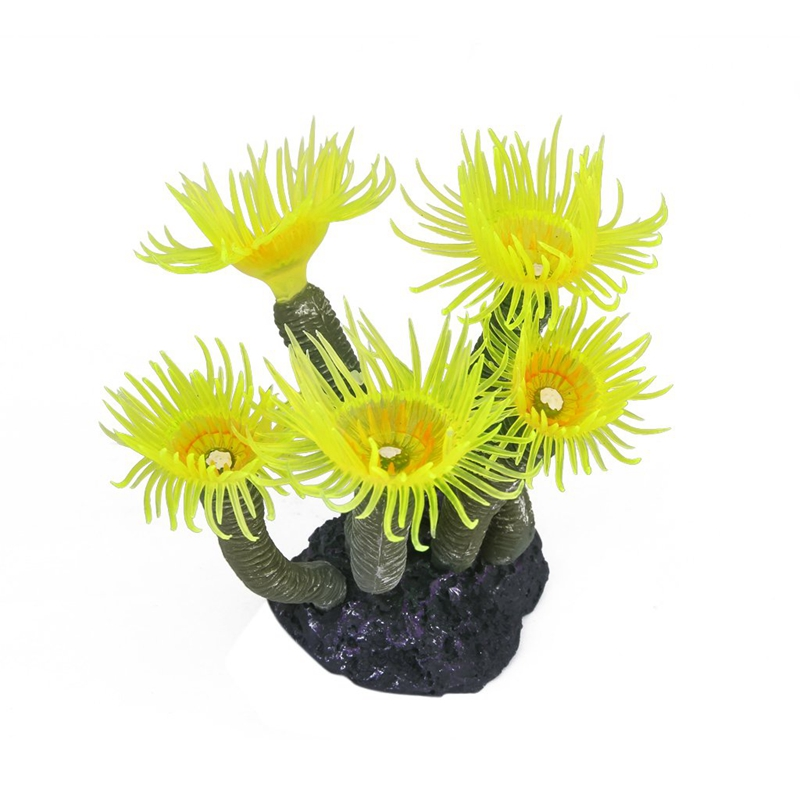 20XArtificial Faked Sea Anemone Coral Aquarium Ornament Decoration Yellow 5D8