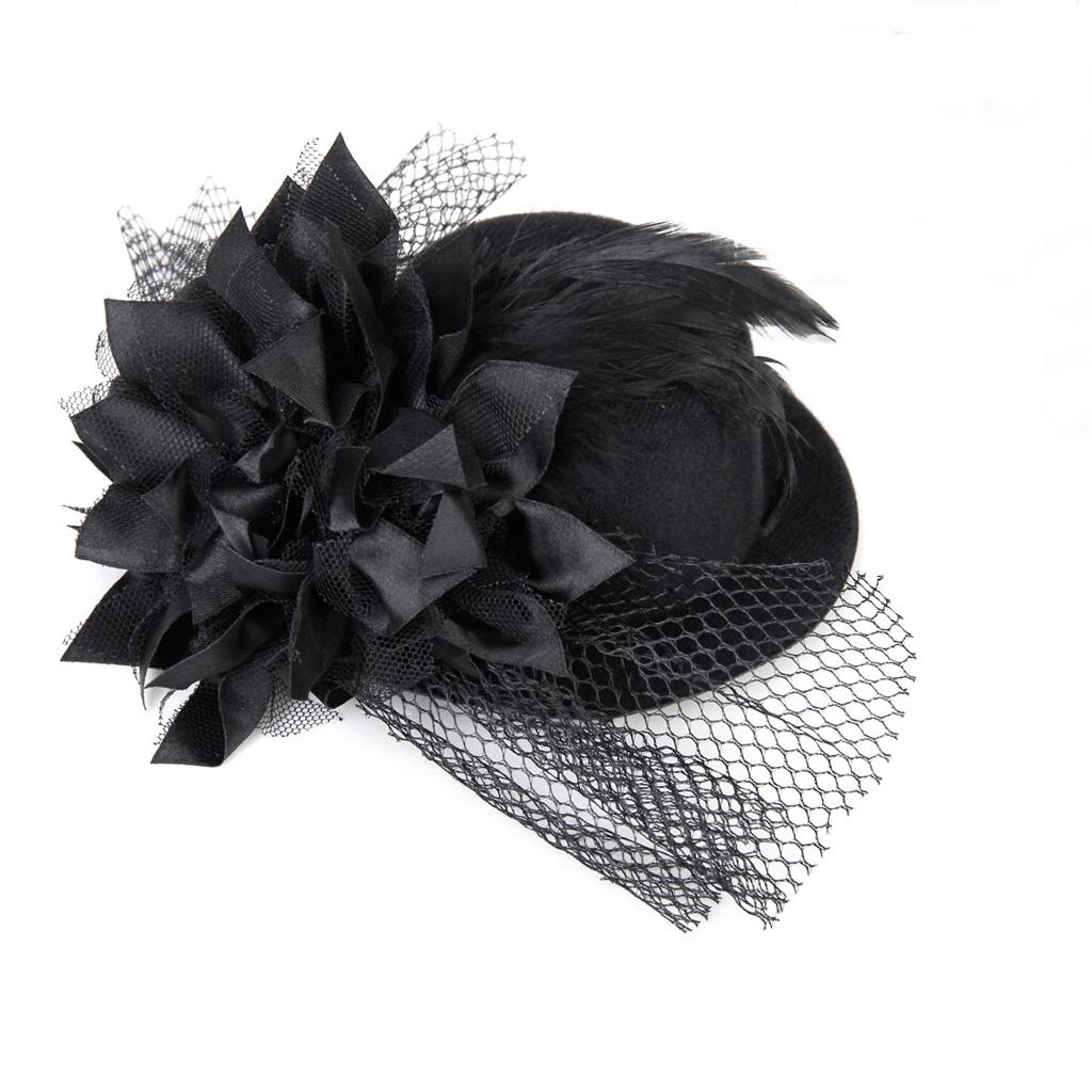 Damen-accessoires Gelernt Frauen Blumengeschmueckten Haarspange Feder Burlesque Punk Mini Spitze Hut T5t7 Kleidung & Accessoires