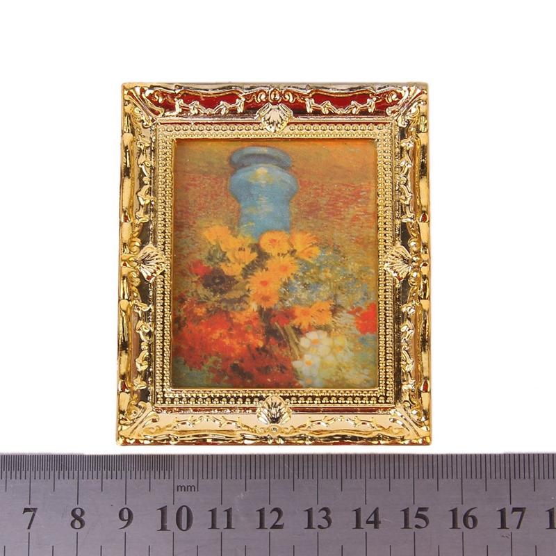 1:12 oro pintura al oleo de la flor marco de plastico muebles de ...