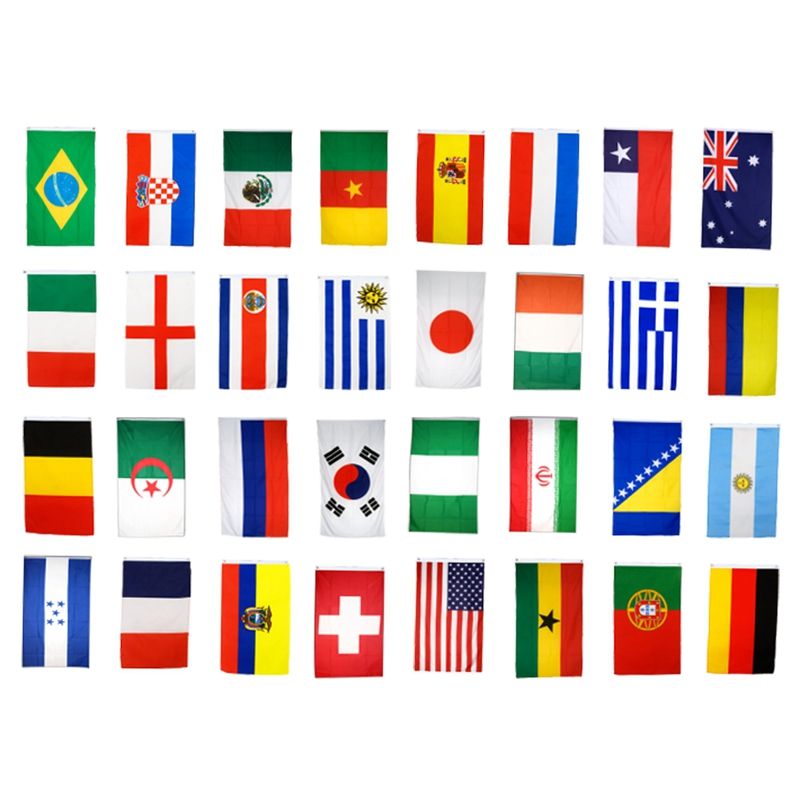 5X-Bresil-la-Coupe-du-Monde-Tissu-Bruant-les-32-drapeaux-9-METRES-Les-dime-N6