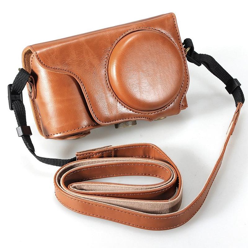 Brown Pu Leather Camera Case Cover Bag + Strap For Samsung Galaxy Ek-Gc100  J4L4
