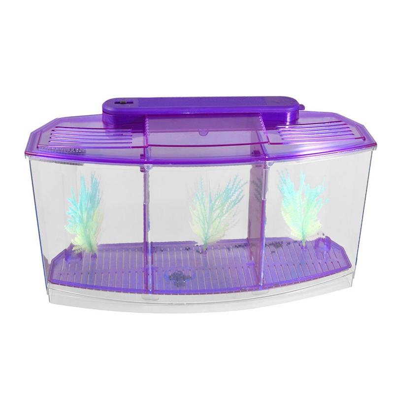 5x (clair violet en plastique alimenté par batterie Led lampe Mini bureau poisson Aquarium Z U4