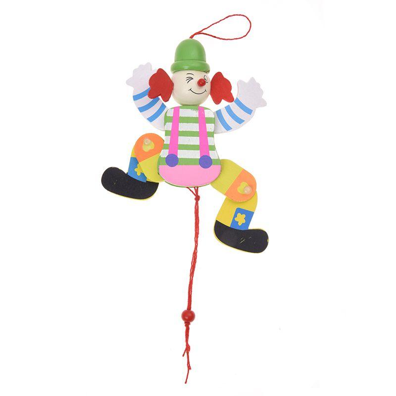 Clown Corde de traction Jouet en bois Bras Jambes monter et descendre J 4N3 10X