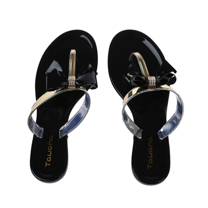 1a4a0d6958efcd TAWANA Womens Ladies Toe Bow Diamante Jelly Summer Flat Flip Flop Thong San  Y6L4