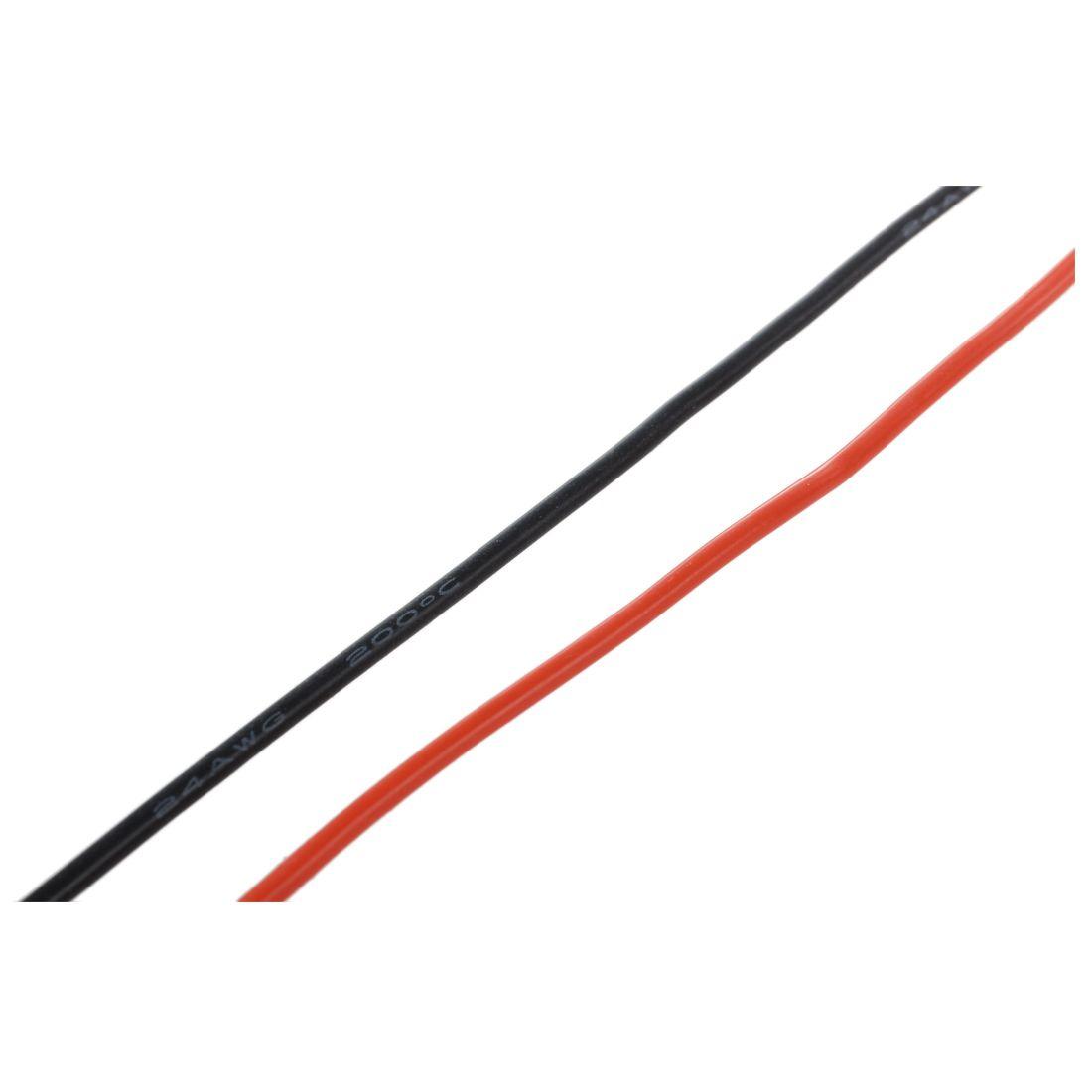 2x 3M 24 Calibre AWG Caoutchouc Silicone Fil de Cable Rouge Noir flexible W7D6