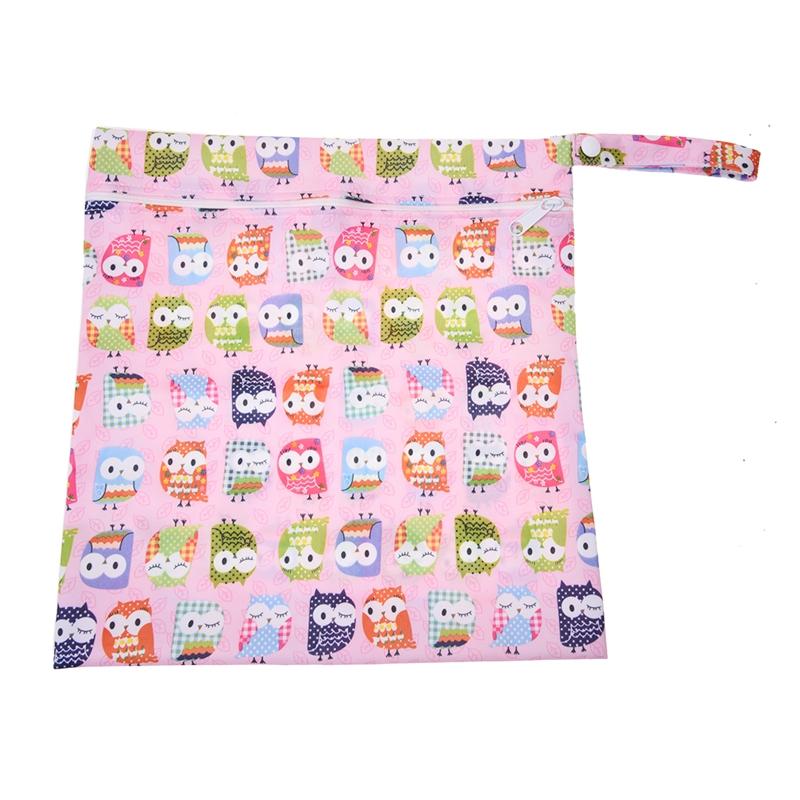 Sac-a-couches-lavables-etanche-zippe-Colorful-Owl-Pattern-Pink-Y4M2-92 miniature 3