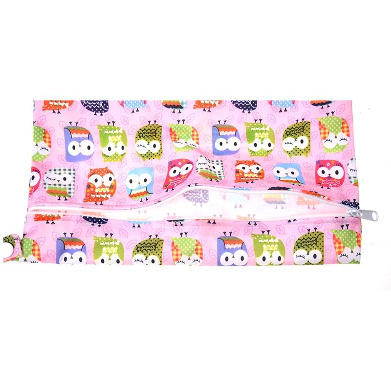 Sac-a-couches-lavables-etanche-zippe-Colorful-Owl-Pattern-Pink-Y4M2-92 miniature 5