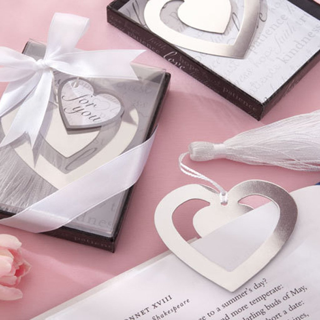 Wedding Favor Double Heart Bookmark Party Favor Stainless Steel with ...